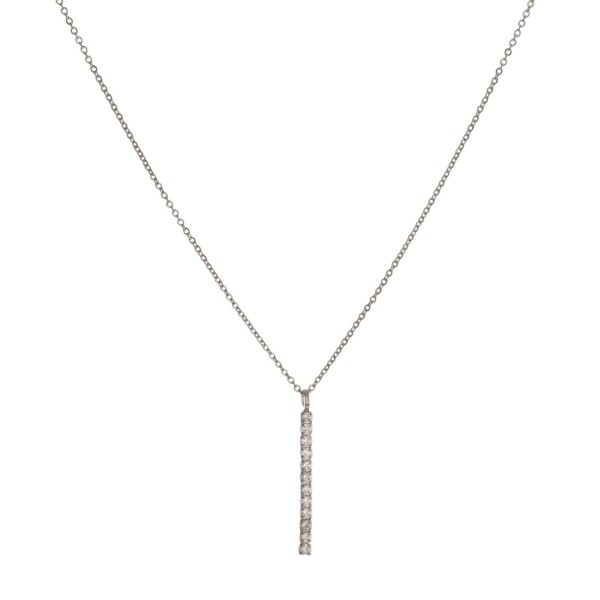 """Dainty necklace with rhinestone bar. Approximately 16"""" in length."""