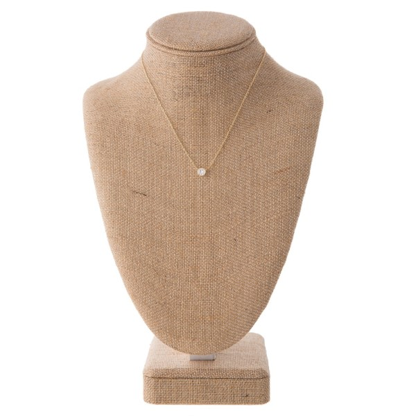 """Dainty necklace with CZ focal. Approximately 18"""" in length."""