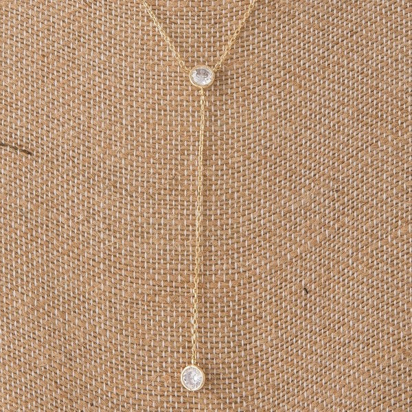 "Dainty Y necklace with CZ details. Approximately 18"" with a 3"" Y."