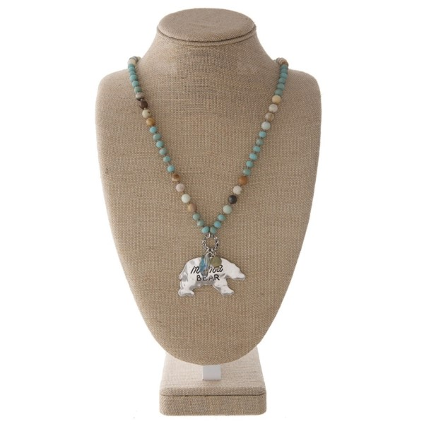 """Long necklace with faceted and natural stone beads and a mama bear pendant. Approximately 32"""" in length with a 2"""" pendant."""