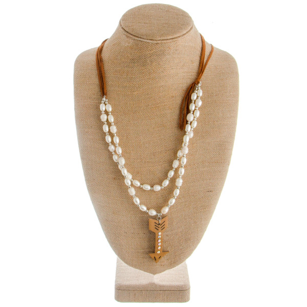 "Long layered pearl necklace with arrow. Approximate 30"" in length."