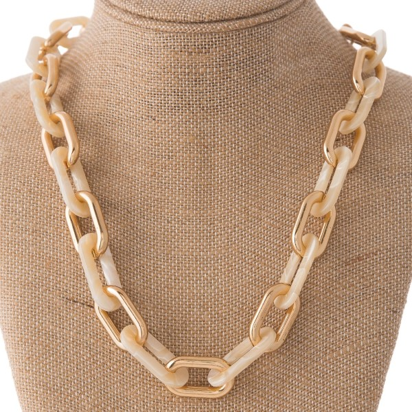 """Linked acetate chain necklace. Approximately 18"""" in length."""