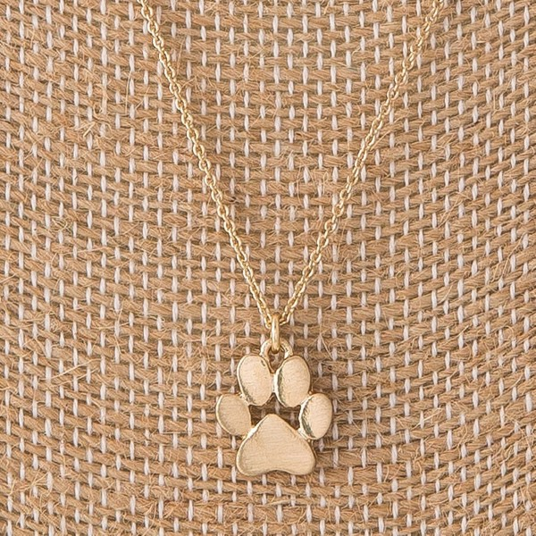 "Dainty necklace with paw print charm. Approximately 16"" in length with a 1/2"" charm."