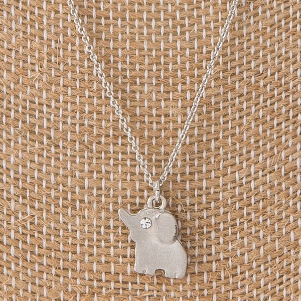 "Short necklace with small elephant charm. Approximately 16"" in length with a 1/4"" elephant charm."