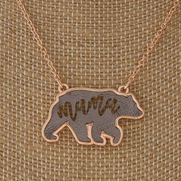 """Short necklace with mama bear charm. Approximately 18"""" in length with a 1"""" pendant."""