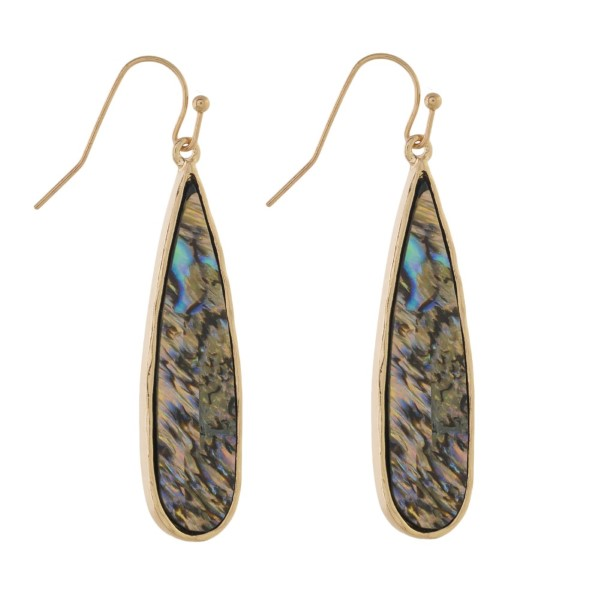 "Gold tone fishhook earring with abalone shell design. Approximately 1.5"" in length."