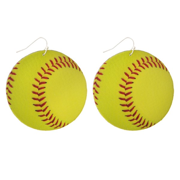 """Faux suede earring in a softball shape. Approximately 2"""" in diameter"""