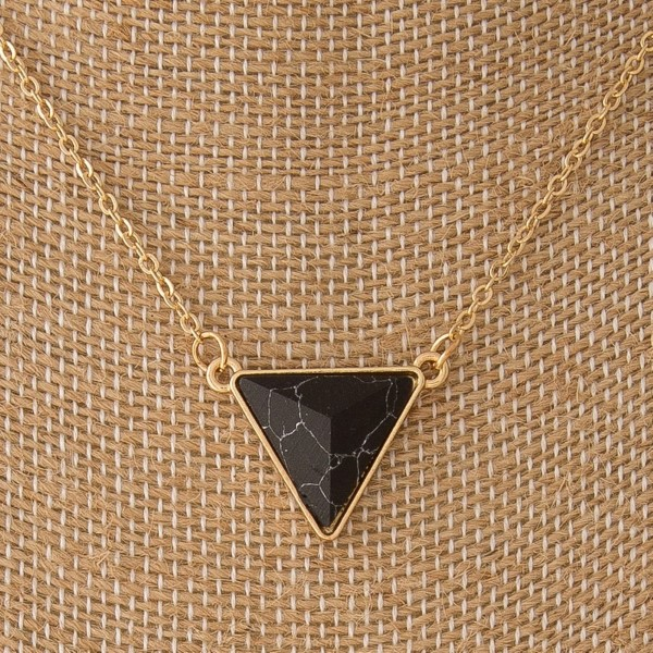 """Gold tone necklace with natural stone triangle. Approximately 16"""" in length."""