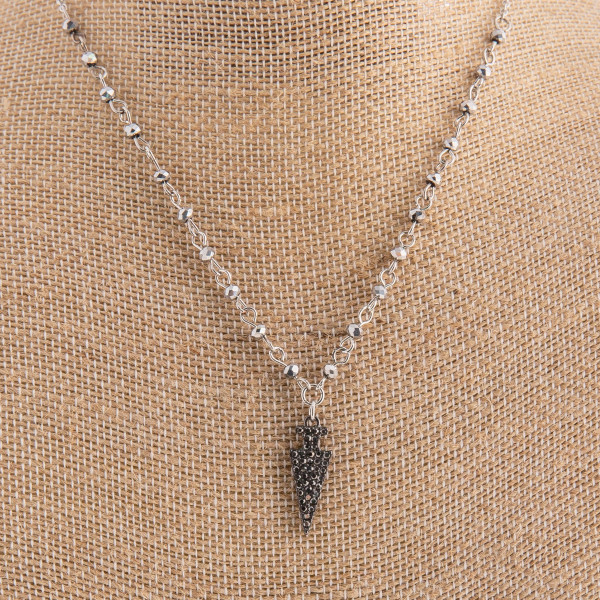 """Earring and necklace set with beads and arrow charm. Approximate 18"""" in length."""