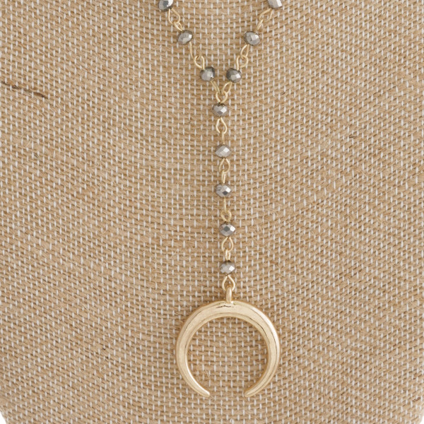 "Short faceted bead necklace with Y and crescent horn charm. Approximately 16"" in length with a 3.5"" Y."