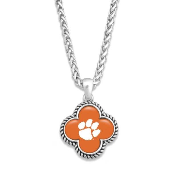 """Officially licensed, silver tone necklace with clover shape and university logo. Approximately 16"""" in length."""