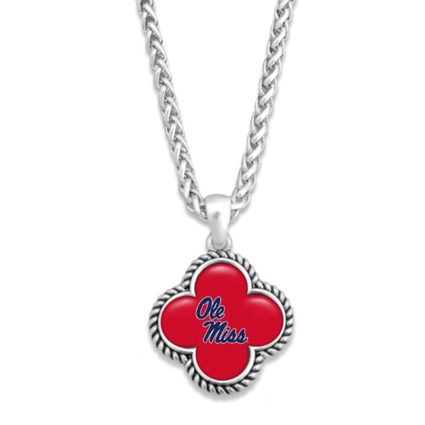 officially licensed silver tone necklace with clover shape and