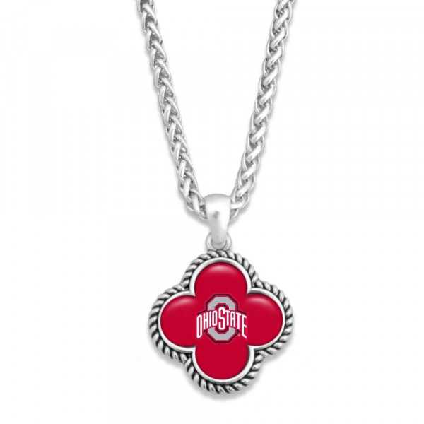 "Officially licensed, silver tone necklace with clover shape and university logo. Approximately 16"" in length."