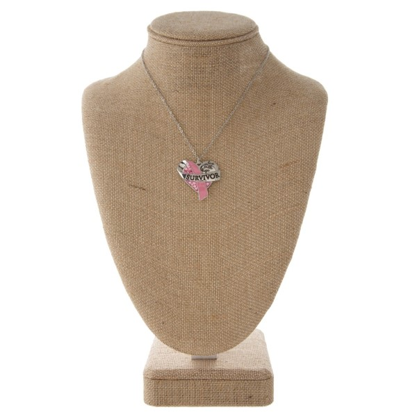 """Short necklace with breast cancel survivor charm. Approximately 16"""" in length."""