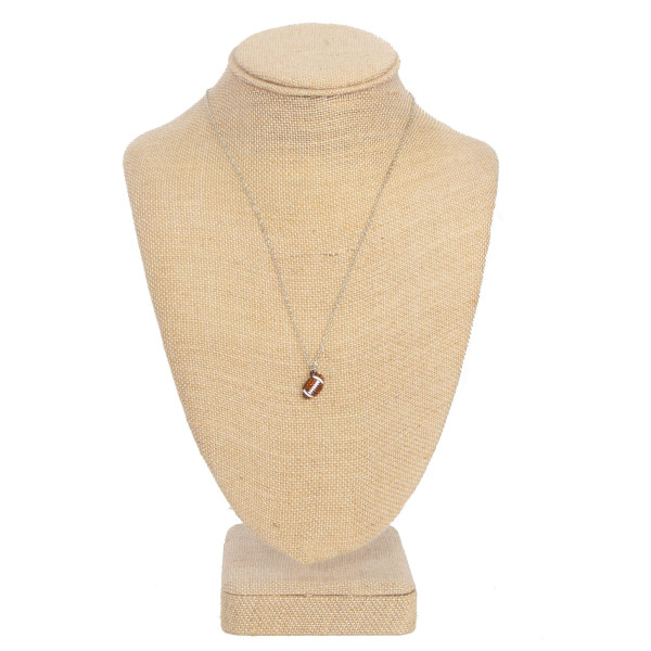 """Short necklace with football charm. Approximately 16"""" in length."""