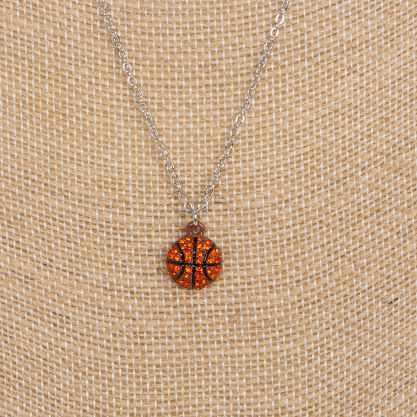 "Short necklace with basketball charm. Approximately 16"" in length."