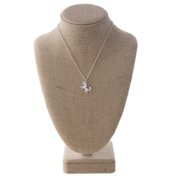 """Short necklace with a unicorn charm. Approximately 16"""" in length."""