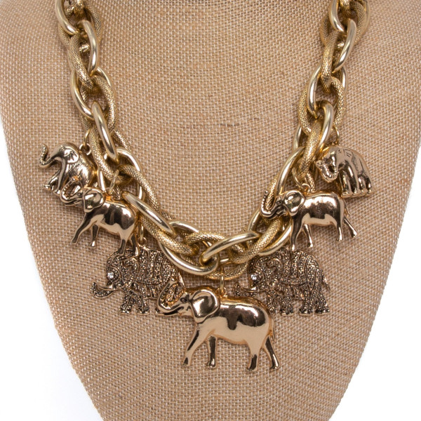 """Chunky chain necklace with elephant detail. Approximately 18"""" in length."""