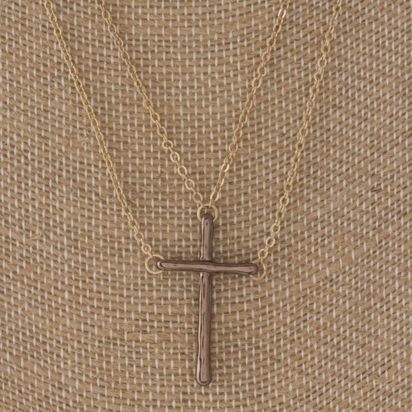 "Layered chain cross necklace. Approximately 18"" in length."
