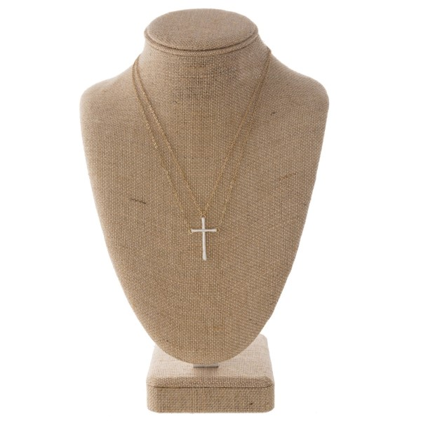 """Short metal necklace with cross charm. Approximately 16"""" in length."""