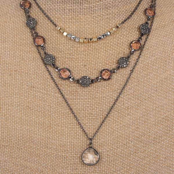 "Layered necklace with flat crystal detail. Approximately 16-18"" in length."