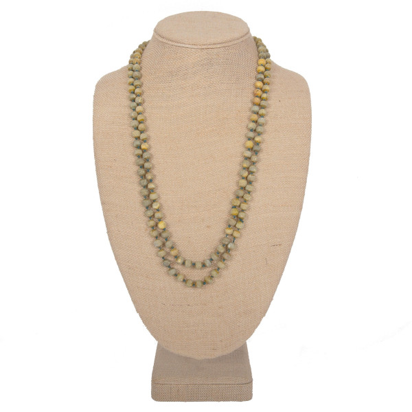 """Long natural stone beaded necklace. Approximately 60"""" in length."""
