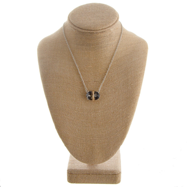 "Short necklace with rhinestone focal. Approximately 16"" in length."