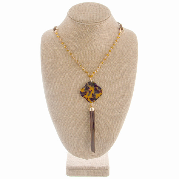 """Faux leather long beaded necklace with acetate clover pendant. Approximately 44"""" in length with a 6"""" pendant."""