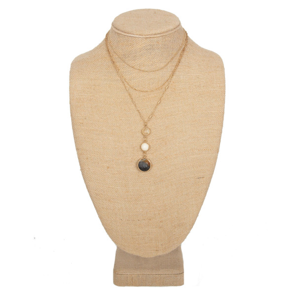 """Layered necklace crystal pendant. Approximately 16"""" in length."""