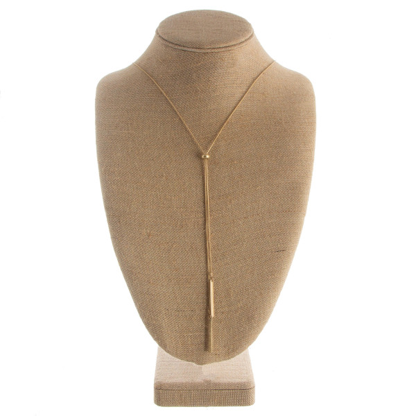 """Long """"Y"""" shaped necklace with tassel. Approximate 30"""" in length with a 1.5"""" pendant."""