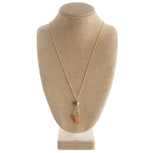 "Long necklace with stone pendant. Approximate 36"" in length with a 1.5"" pendant."