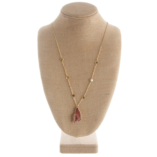 """Long necklace with beads and stone pendant. Approximate 34"""" in length and 1.5"""" pendant."""