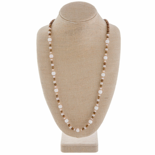 """Gorgeous long wood and natural stone necklace. Approximate 40"""" in length."""