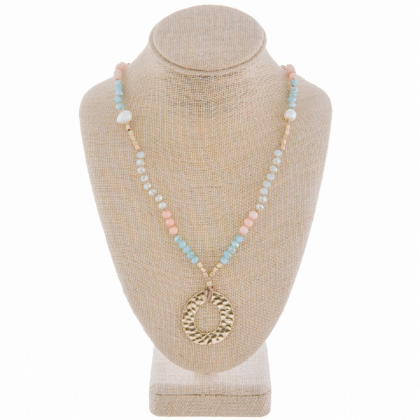 """Long metal necklace with bead , pearls, 34"""" and natural stone details with pendant. Approximate 34"""" in length."""