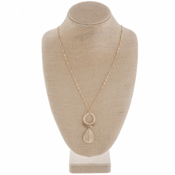"""Long gorgeous metal necklace with beads and a drop pendant. Approximate 36"""" in length."""