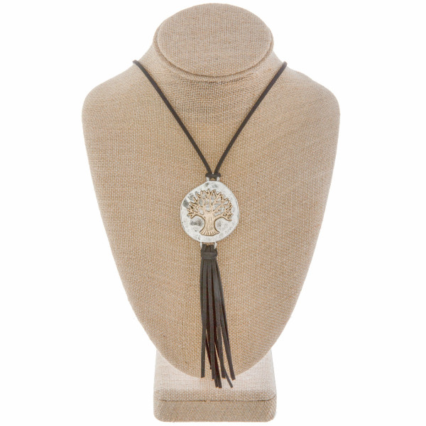 """Long leather necklace with """"Tree of Life"""" Pendant with tassels. Approximate30"""" in length with 2"""" pendant."""