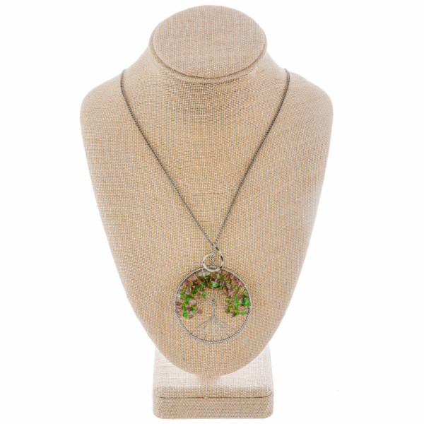 """Long necklace with tree of life pendant. Approximate 27"""" in length with 3"""" pendant."""