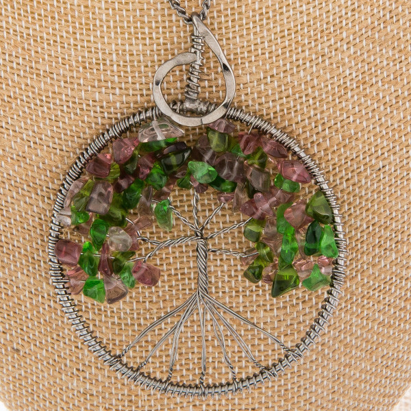 "Long necklace with tree of life pendant. Approximate 27"" in length with 3"" pendant."