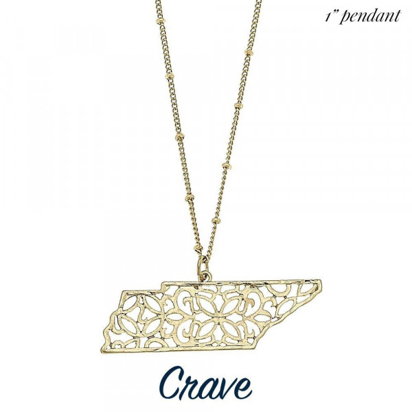 """Short metal necklace featuring a filigree state cutout pendant. Approximate 14"""" in length with 1"""" pendant."""