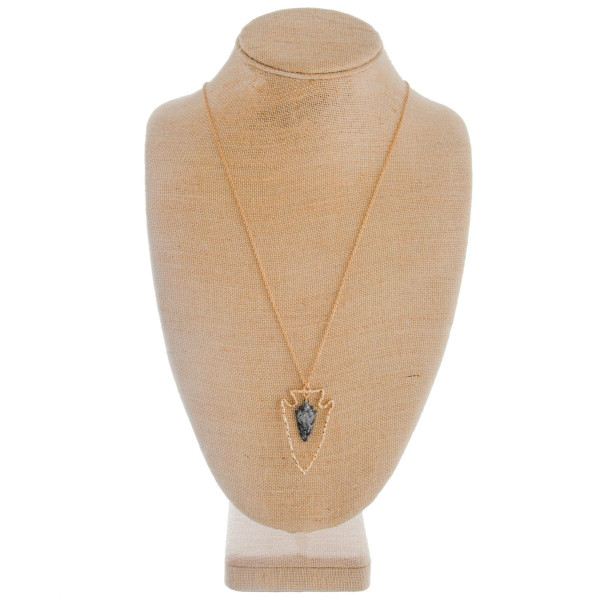 """Short earring with long necklace set includes arrow pendant. Approximate 34"""" in length with 2"""" pendant."""