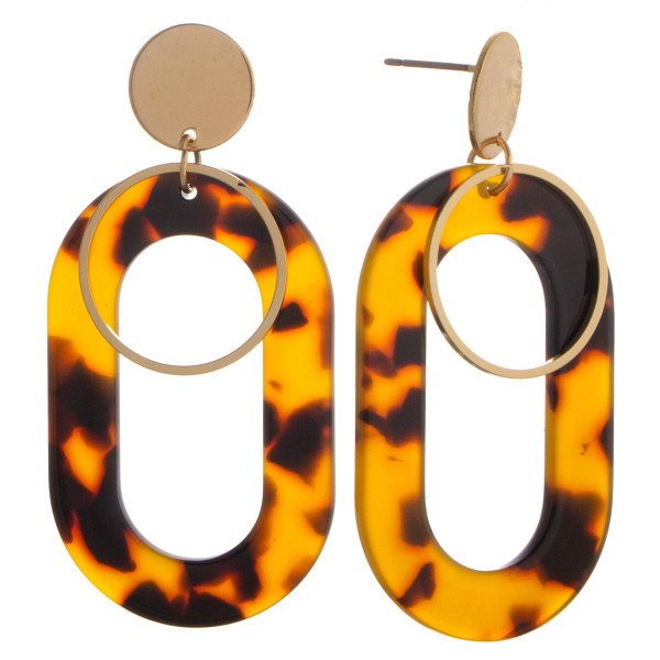 Long acetate earring with small gold hoop. Approximate 1.5mm in diameter.