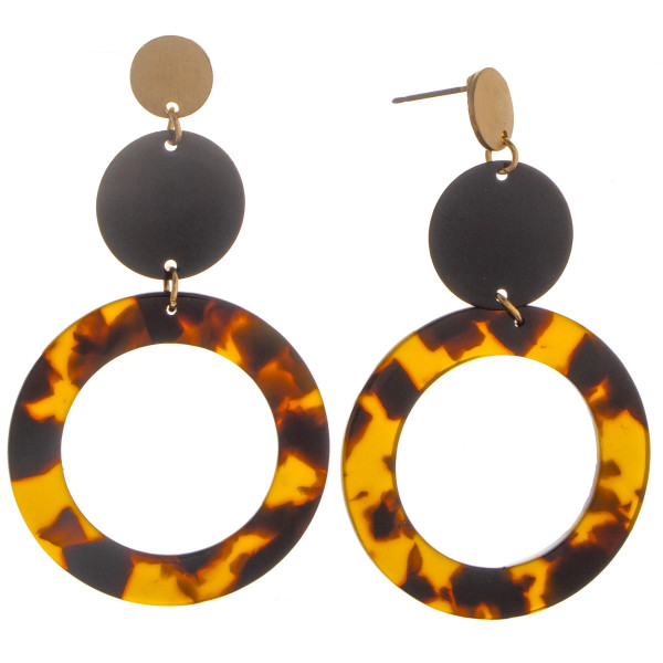 "Acetate and metal gold earring. Approximate 2"" in length."