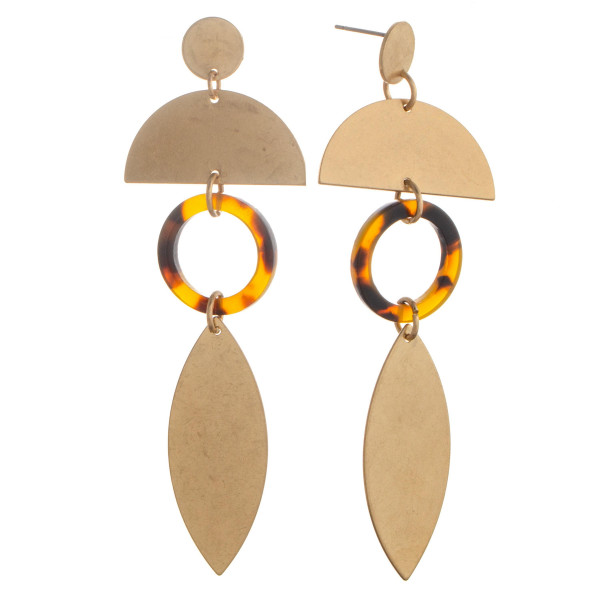 "Long half moon and marquise shaped earrings with acetate detail. Approximate 3"" in length."