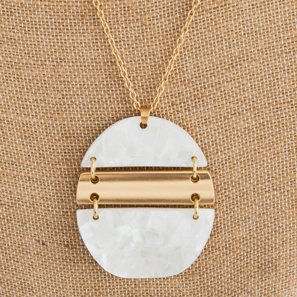 """Long gold metal necklace with acetate pendant.  Approximate 32"""" in length with 2"""" pendant."""