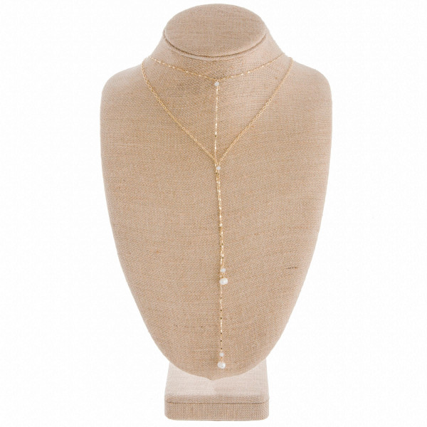 "Gorgeous layered Y necklace with bead and pearl details. Approximate 38"" in length."