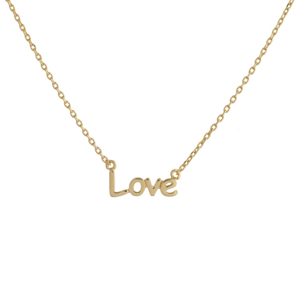 "Gold dipped collar necklace with ""Love"" pendant. Approximate 16"" in length."
