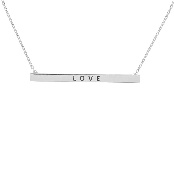 "Long metal necklace with 'love' message. Approximate 16"" in length."