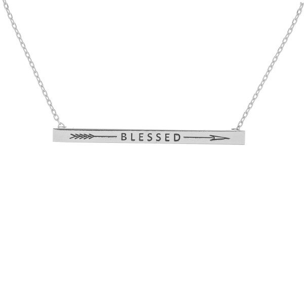 """Long metal necklace with engraved arrow and 'blessed' message. Approximate 16"""" in length."""