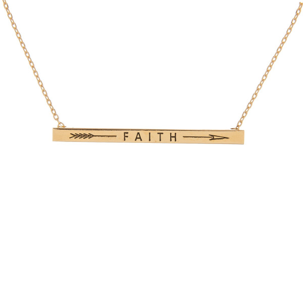 """Long metal necklace with engraved arrow and """"Faith"""" message. Approximate 16"""" in length."""