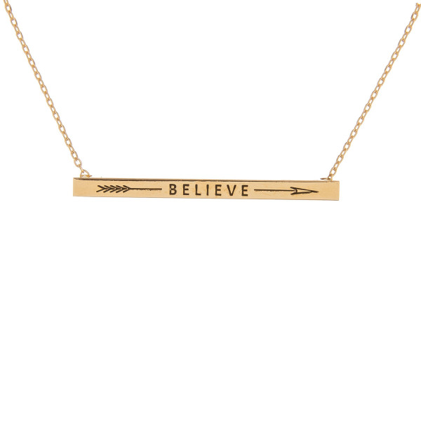 """Long metal necklace with engraved arrow and  believe message. Approximate 16"""" in length."""